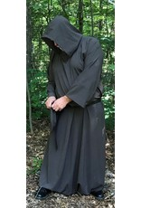 Cloak and Dagger Creations R405 - Heathered Brown Grey and Black Wool Monk Robe w/Attached Cowl, Matching Pouch