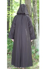 Cloak and Dagger Creations R477 - Darkest Brown Washable Wool Jedi Robe, Straight Sleeves, Generous Hood