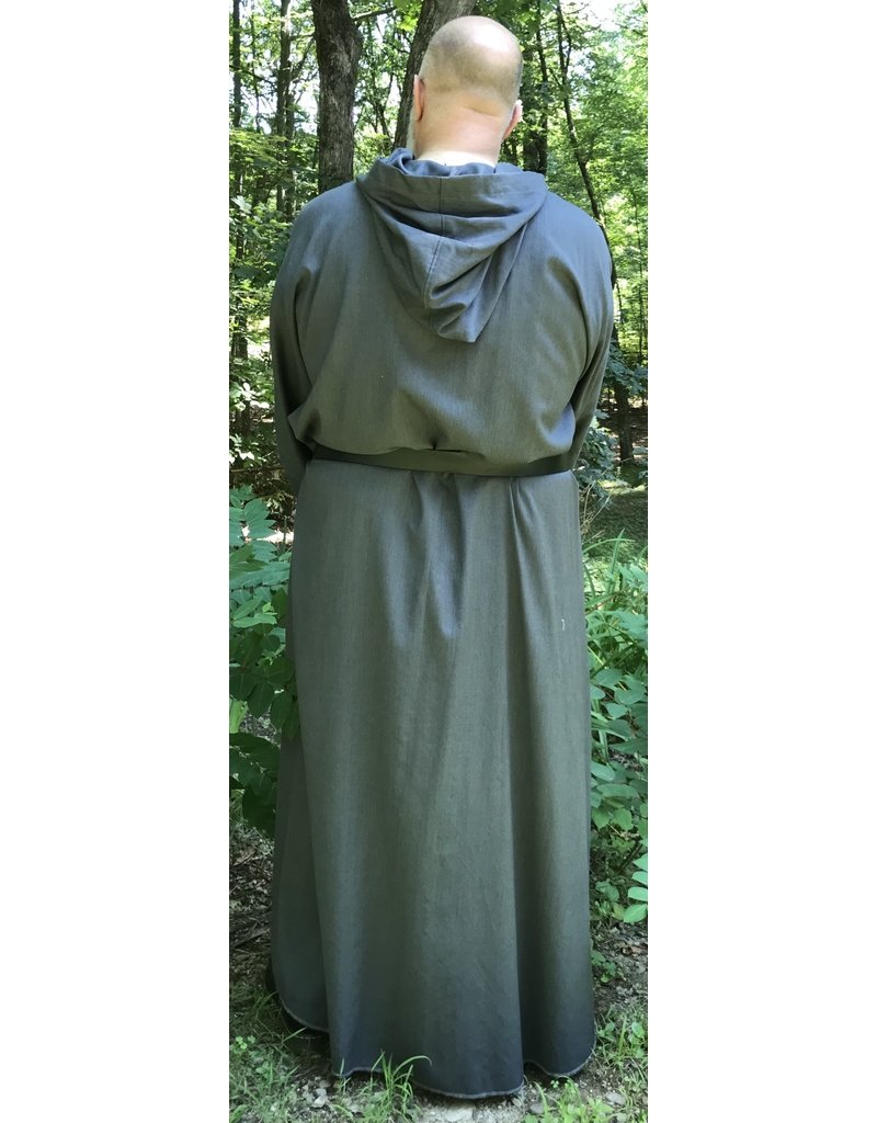 Cloak and Dagger Creations R491 - Washable Grey Wool Monk Robe w/Pockets & Matching Pouch
