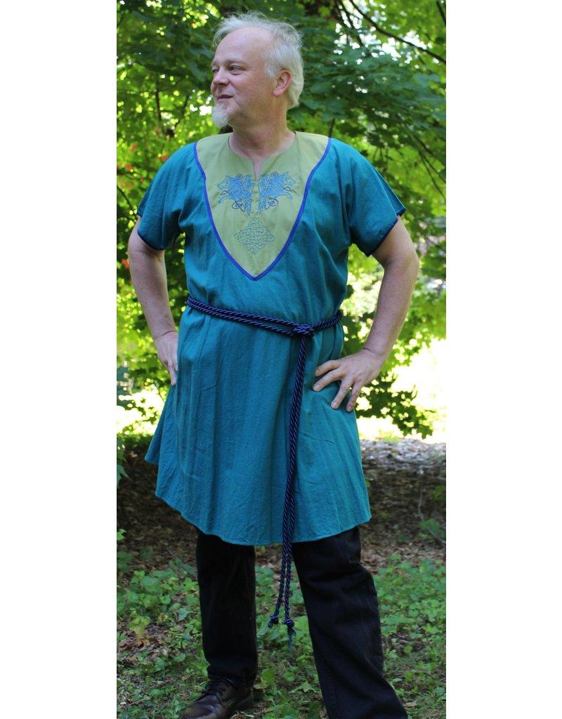 Cloak and Dagger Creations J646 Teal Tunic, Spring Green Yoke, Celtic Wolves Rampant, Square Celtic Knot