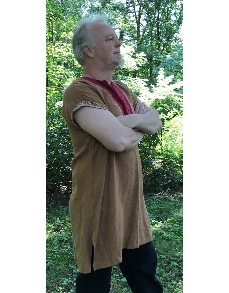 Cloak and Dagger Creations J635 - Mustard Brown Short Sleeve Tunic, Pale Trim, Red Yoke w/Gold Viking Dragon Embroidery