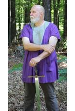 Cloak and Dagger Creations J642 - Purple Cotton/Linen short sleeve tunic, Grey Yoke Blue Trim, Viking Dragon Celtic Knot