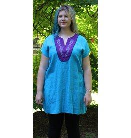 Cloak and Dagger Creations J643 - Turquoise Blue Linen Tunic , Deep Blue Trim, Purple Yoke w/Viking Dragon Embroidery