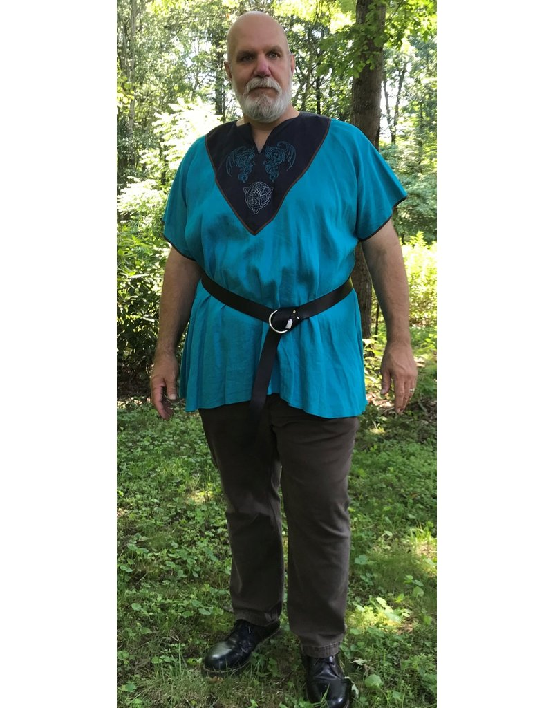 Cloak and Dagger Creations J658 - Turquoise Linen Short Sleeve Tunic, Black Yoke, Dragon & Celtic Knot w/Trinity Embroidery, Brown Trim