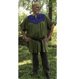 Cloak and Dagger Creations J663 - Olive Green Short Sleeve Linen Tunic, Iris Blue Yoke, Running Wolves Embroidery, Purple Trim