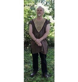 Cloak and Dagger Creations J669 - Sugar Brown Cap Sleeve Linen Tunic, Tan Cotton Yoke w/ Dragons & Tree of Life Knot Embroidery, Dark Brown Trim