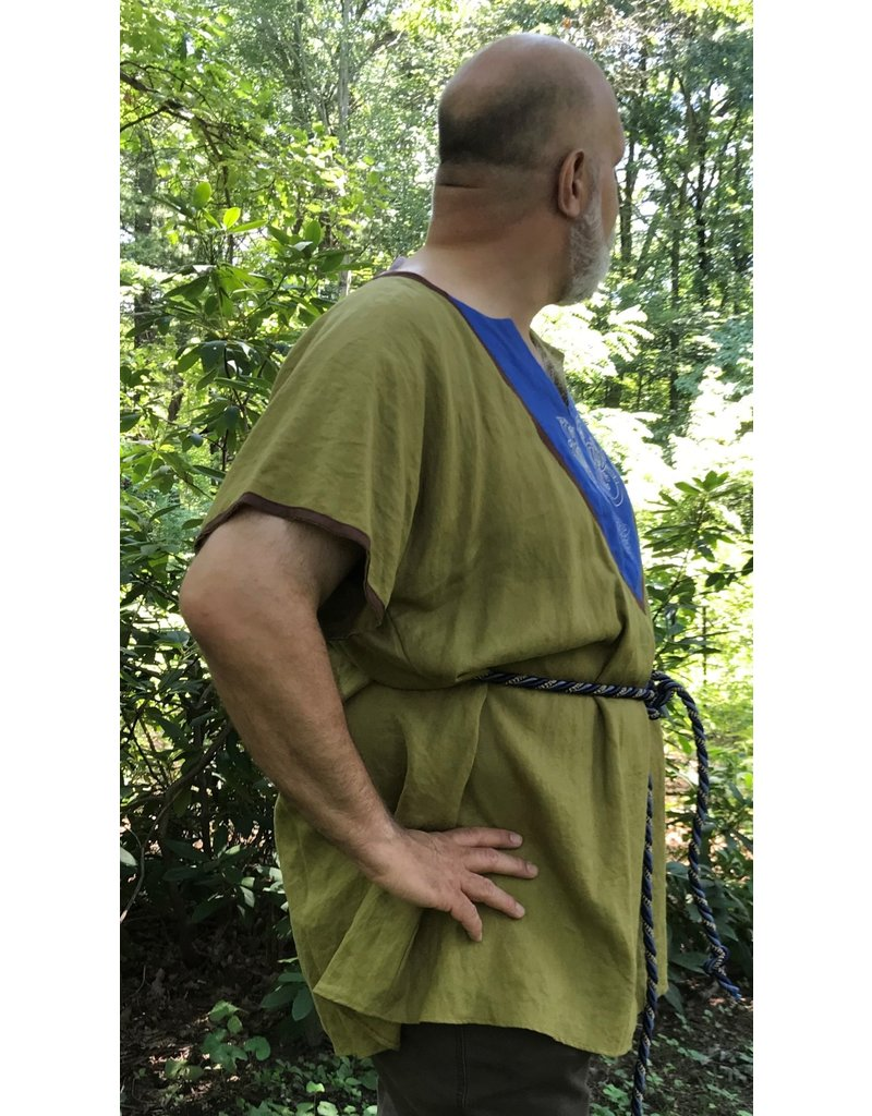 Cloak and Dagger Creations J685 - Dusky Olive Short Sleeve Linen Tunic, Medium Blue Bib w/Celtic Ferret & Square Celtic Knot Embroidery, Medium Brown Edging
