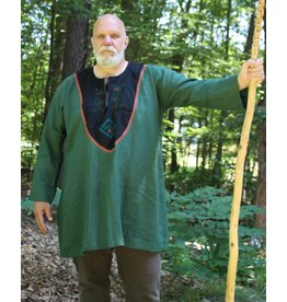 Cloak and Dagger Creations J716 - Green Linen Tunic, Long Sleeve, w/Acorn Embroidery on Black Collar