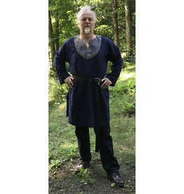 Cloak and Dagger Creations J718 - Deep Blue Long Sleeve Linen Tunic w/Crow Embroidery on Grey Collar