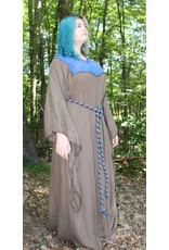 Cloak and Dagger Creations G1021 - Brown Linen gown, brown wolves on blue panel