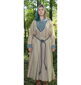 Cloak and Dagger Creations G1024 - Linen Gown w/Blue Panel, Embroidered Viking Dragons and Celtic Knot