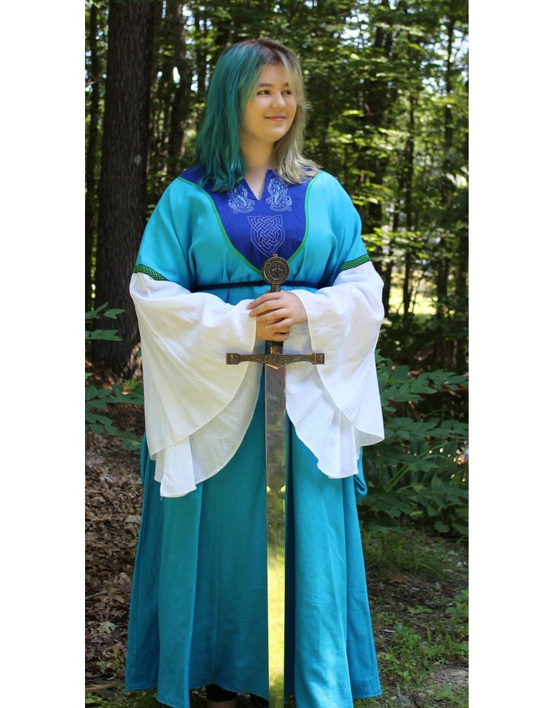 Cloak and Dagger Creations G1044 - Turquoise Blue Gown w/Pockets, Blue Yoke w/Sea Dragon & Celtic Knot Embroidery, Green Trim