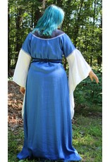 Cloak and Dagger Creations G1080 - Royal Blue Linen Gown, Black Yoke, Musical Note & Curly Web Embroidery, Lilac Trim, White Sleeves