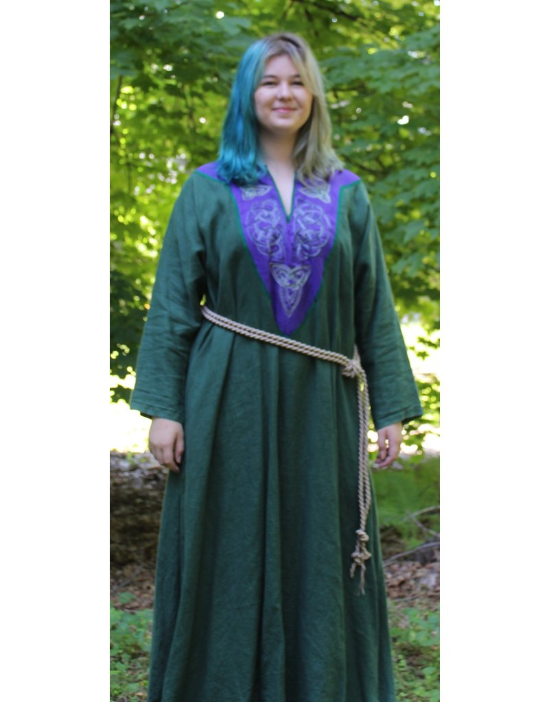 Cloak and Dagger Creations G1084 - Pine Green Long Sleeve Linen Gown, Purple Yoke w/Variagated Knot Embroidery, Green Trim