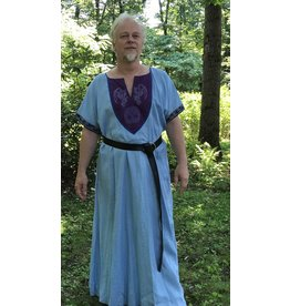Cloak and Dagger Creations G1095 - Pale Blue Short Sleeve Linen Gown, Purple Yoke w/Winged Dragon & Tree of Life Embroidery, Navy Blue Edging