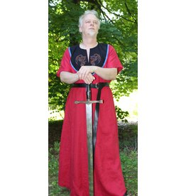 Cloak and Dagger Creations G1101 - Red Linen Gown w/Pockets, Winged Dragon Embroidery on Black Collar