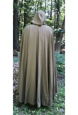 Cloak and Dagger Creations 4447 - Washable Light Brown Long Lightweight Cloak, Unlined Hood, Pewter Clasp