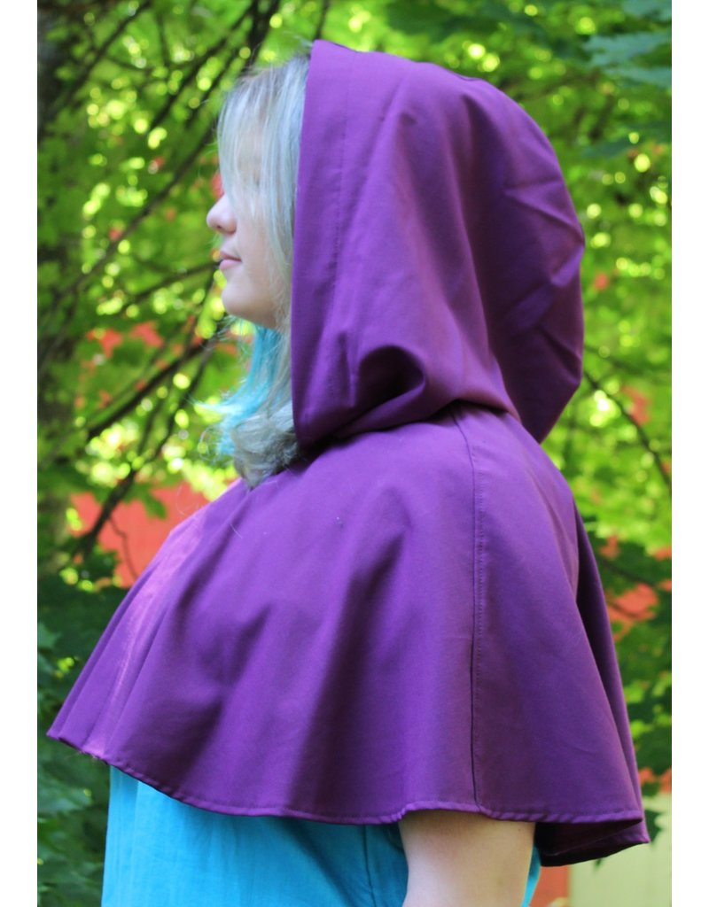 Cloak and Dagger Creations 4058 - Bishop's Purple Short Wool Cloak, Pewter Vale Clasp