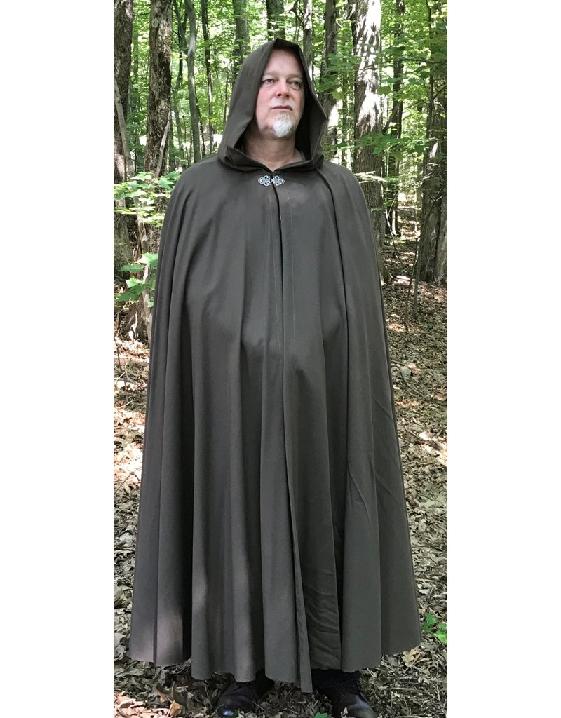 Cloak and Dagger Creations 4314 - Full Circle Cloak in Washable Medium Brown Wool, Unlined Hood, Pewter Clasp