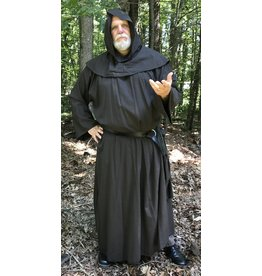 Cloak and Dagger Creations R427 - Heathered Greyish Dark Brown Wool Monk Robe with Detached Pointed Cowl, Belt Pouch