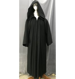 Cloak and Dagger Creations R490 - Washable XXL Black Wool Mage Robe