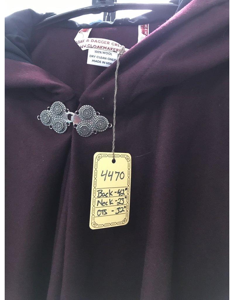 Cloak and Dagger Creations 4470 - Burgandy Wool Full Circle Ruana-Style Cloak w/Pockets, Black Moleskin Hood Lining, Pewter Triple Medallion Clasp