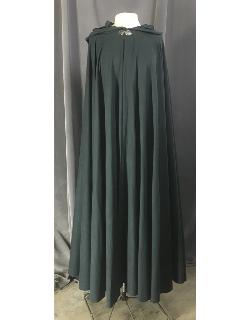 Cloak and Dagger Creations 4459 - Easy Care Dusky Green Full Circle Cloak, Unlined Hood, Pewter Clasp