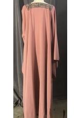 Cloak and Dagger Creations G1102 - Dark Peach Linen Blend Gown, Square Neckline w/Floral Trim,  Drop Sleeves