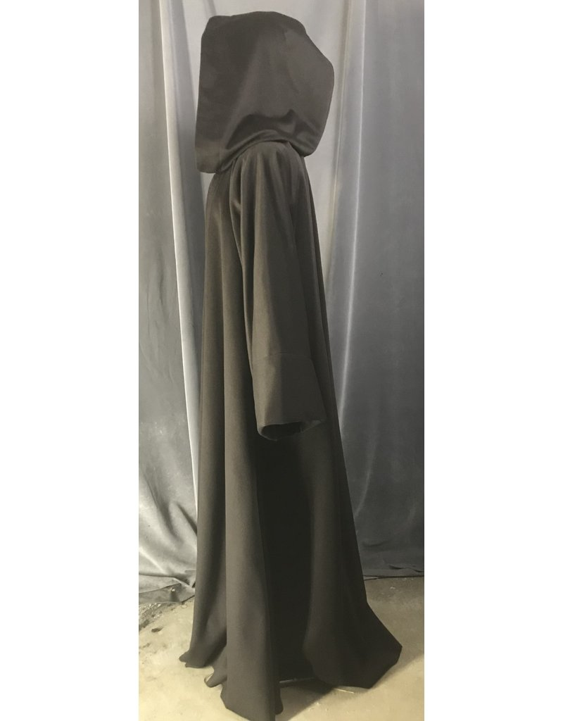Cloak and Dagger Creations R481 - Brown Woolen Jedi Robe, Wide Cuffed Sleeves, w/Pockets