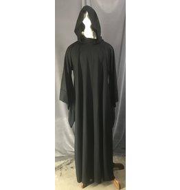 Cloak and Dagger Creations R472 - XL Black Wool Monk Robe w/White Rope Belt