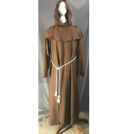 Cloak and Dagger Creations R492 - Pecan Brown Linen Monk Robe w/Pockets, Detatched Cowl. Straight Sleeves, and Rope Belt