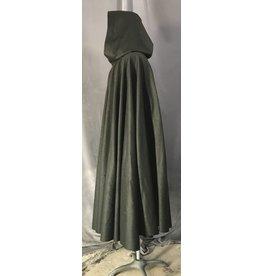 Cloak and Dagger Creations 4478 - Grey Green Wool Full Circle Cloak, Black Velvet Hood Lining, Pewter Vale-type Clasp