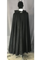 Cloak and Dagger Creations 4476 - Black Angora Wool Full Circle Cloak, Black Velvet Hood Lining, Pewter Vale-type Clasp