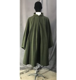 Cloak and Dagger Creations 4472 - Washable Juniper Green Fleece Collared Ruana-Style Cloak w/Snap Fasteners