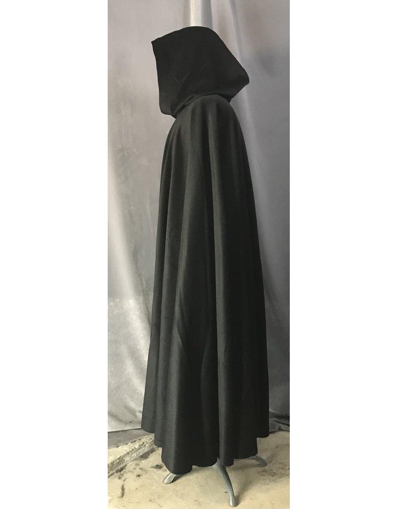 Cloak and Dagger Creations 4481 - Black Angora Cloak, Green Hood Lining, Wool