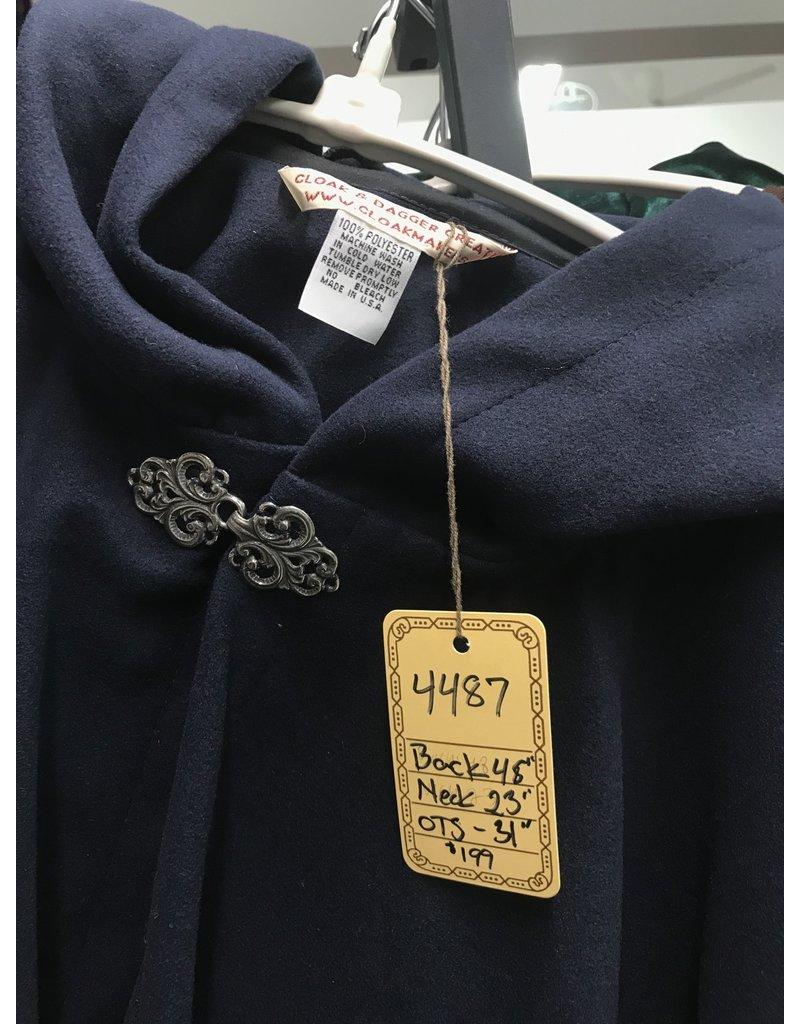 Cloak and Dagger Creations 4487 - Dark Blue Faux Wool Ruana, Washable