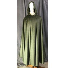 Cloak and Dagger Creations 4467 - Washable Bamboo Green Moleskin Full Circle Cloak, Green Moleskin Hood Lining, Pewter Vale Clasp