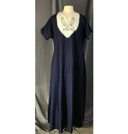 Cloak and Dagger Creations G1105 - Blue Linen Tunic w/ Cat Embroidery, Pockets