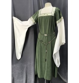 Cloak and Dagger Creations G1107 -Dusty Green Easy Care Gown w/White Sleeves, Trim
