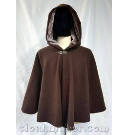 3728 - Medium Brown Wool Full Circle Cloak w/Grey Velvet Hood Lining