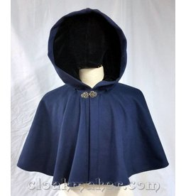 3726 - Blue Wool Full Circle Cloak w/Black Velvet Hood Lining
