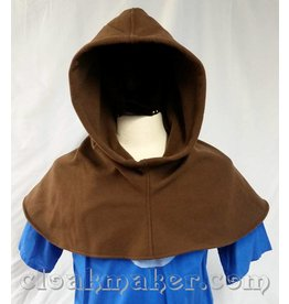 H144 -Brown Wool Twill Hooded Cowl