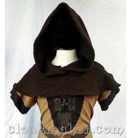 H143 - Brown Novelty Weave Wool Shaped Shoulder Hooded Cowl