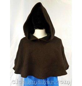 H139 - Brown Novelty Weave Wool Shaped Shoulder Hooded Cowl