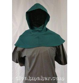 H118 -Green Wool Hooded Cowl