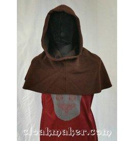 H111 -Heathered Brown Wool Hooded Cowl