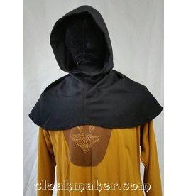 H104 -Ribbed Black Wool Hooded Cowl