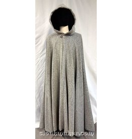 3718 - White and Grey Boucle Wool Full Circle Cloak w/Black Velvet Hood Lining