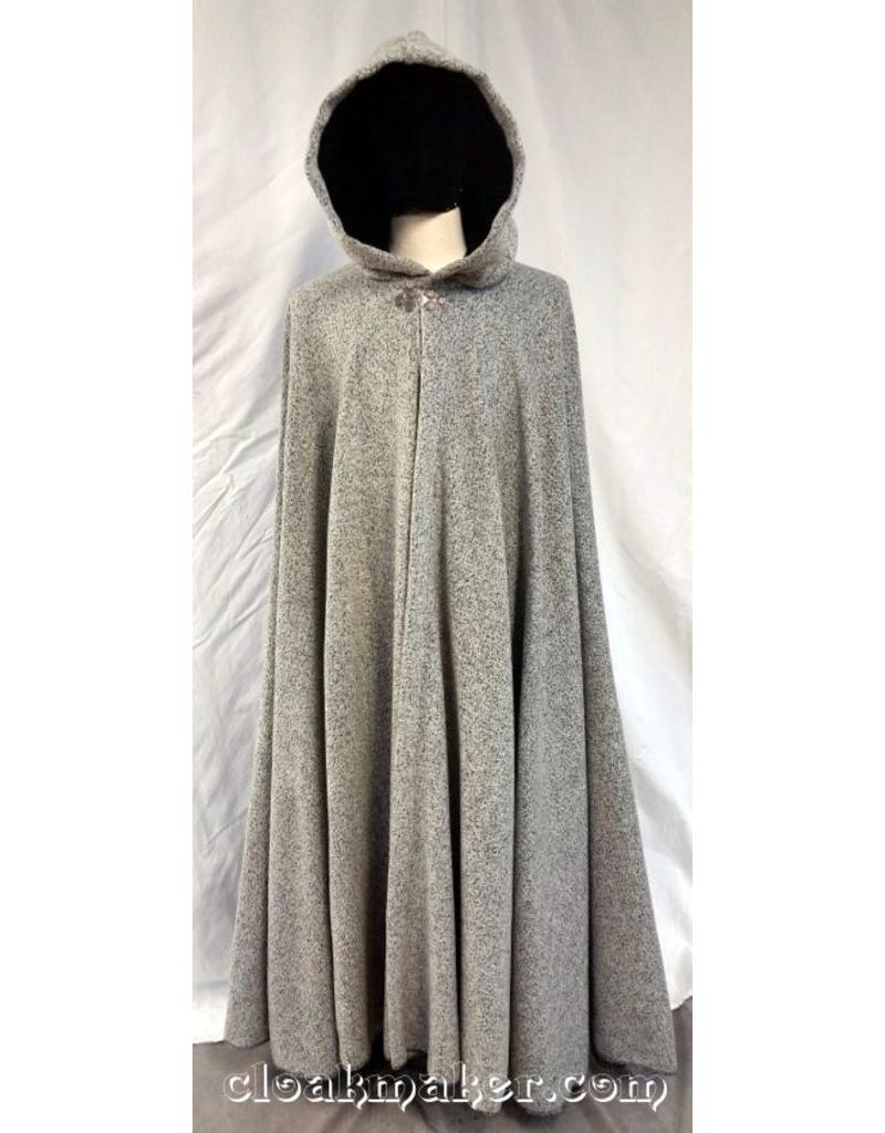 ecbad79a76c 3718 - White and Grey Boucle Wool Full Circle Cloak w Black Velvet Hood  Lining ...