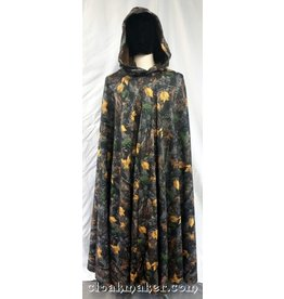 3711 - Hunter's Camo Fleece Full Circle Cloak w/Green Faux Suede Hood Lining